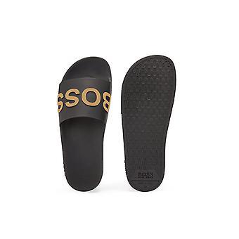 BOSS Schuhe & Accessoires Boss Bay Sliders Schwarz/Gold