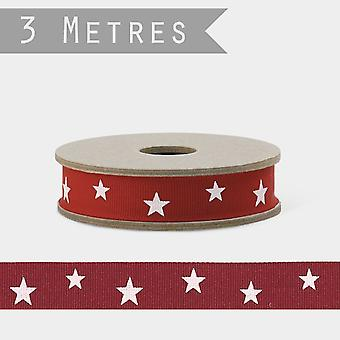 East of India RED ribbon with White Stars x 3m Craft