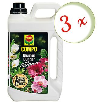 Sparset: 3 x COMPO flower fertilizer with guano, 3 liters