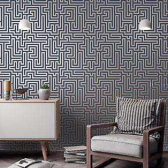 Glistening Maze Wallpaper Navy / Gold Holden 12913