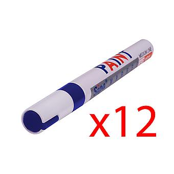 12x PERMANENT Car Tyre Tire Metal Outdoors Oil Based MARKER PEN[Blue]