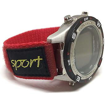 Velcro watch strap red nylon 14mm and 20mm with fabric sports badge