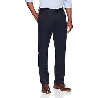 BUTTONED DOWN Men's Relaxed Fit Flat Front Stretch Non-Iron Dress Chino Pant, Navy, 32W x 32L