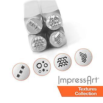 ImpressArt 4 Pc. Texture Metal Stamping Sets, Metal Stamps, 6mm Size