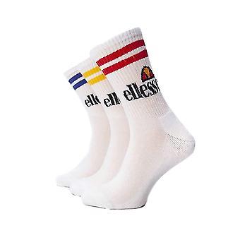 Ellesse Pullo Mens Sports Fashion Training Crew Socks White (3 Pack)