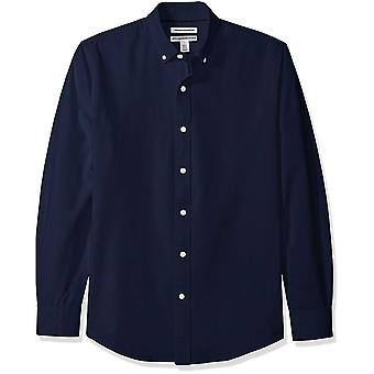 Essentials Men's Slim-Fit Langarm solide Oxford Shirt, Marine, klein