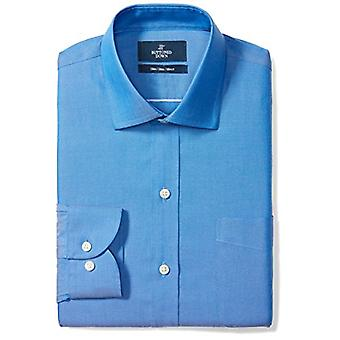 """BUTTONED DOWN Men's Slim Fit Spread-Collar Solid Non-Iron Dress Shirt (Pocket), French Blue, 15.5"""" Neck 32"""" Sleeve"""