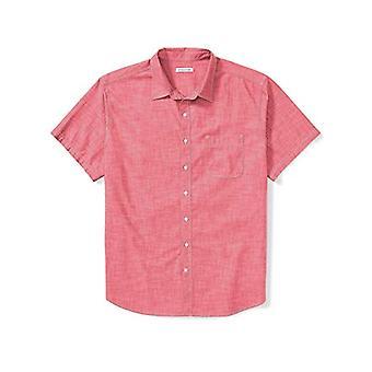 أساسيات الرجال & apos&ق كبيرة وطويلة القامة قصيرة الأكمام قميص شامبراي تناسب DXL, إعادة ...