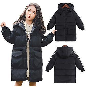 Kids Oversized Unisex Stylish Long Padded Bubble Parka Winter Hooded Coat-Black