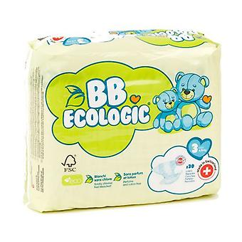 T3 Midi Baby Diapers 4-9kg - BB Ecologic Range 30 units