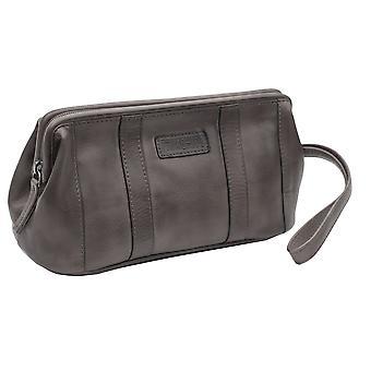 Primehide Mens جلد غسل حقيبة الحلاقة المرحاض عطلة نهاية الأسبوع السفر حقيبة جنتس 680