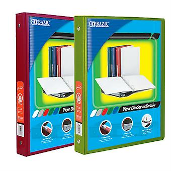 Combo12, BAZIC 1/2 Inch 3-Ring View Binder with 2-Pockets (Case pack of 24 consist 12-Burgundy & 12-Lime Green)