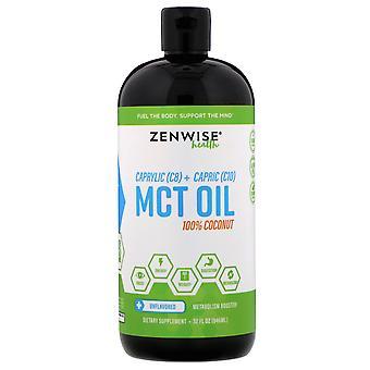 Zenwise Health, Caprylic (C8) + Capric (C10) HUILE MCT, 100% Noix de coco, Unflavored,