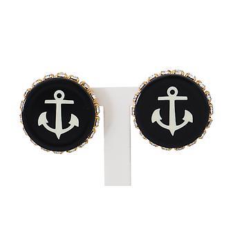 Dolce & Gabbana Gold Brass Clear Crystal Black Anchor Clip Earrings -- SMYK732080