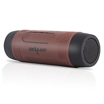 Zealot S1 Wireless Speaker with Flashlight for Bicycle - Soundbar Wireless Bluetooth 5.0 Speaker Box Brown
