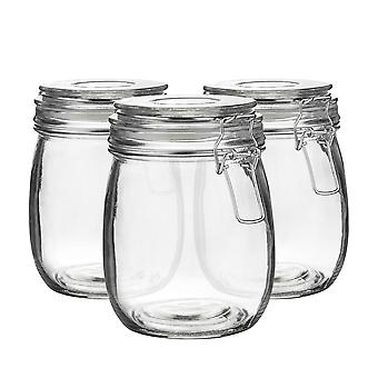 Argon Tableware Glass Storage Jars with Airtight Clip Lid - 750ml Set - Clear Seal - Pack of 6