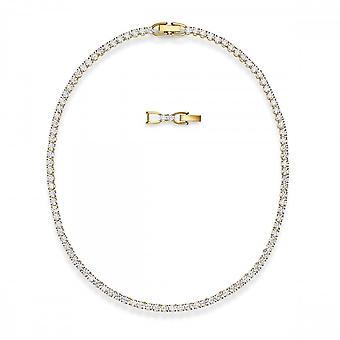 سواروفسكي للتنس ديلوكس قلادة، أبيض، مطلي بالذهب 5511545