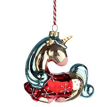 ガラスクリスマスボーブル - メタリック魅惑ユニコーンX 1パック