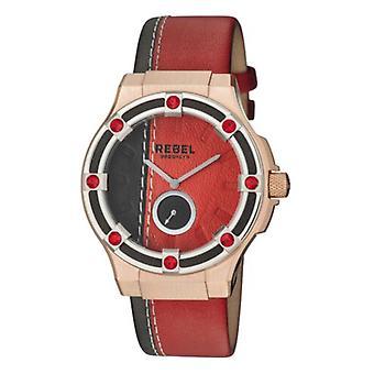 Rebel Women-apos;s RB119-5181 Flatbush Rose-Gold IP Rouge/Black Leather Wrwatch