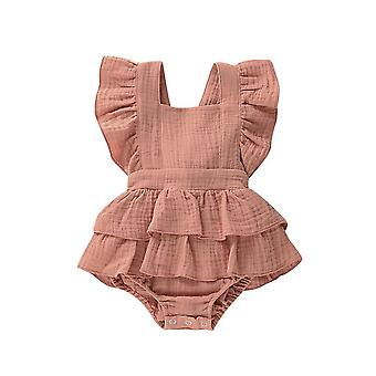 Nouveau-né Baby Ruffle Cotton Linen Solid Color Bow Romper Backless Jumpsuit