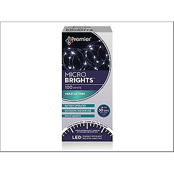 Premier Decorations Battery Multi-Action Micro Bright 100LED 8H White LB151210W