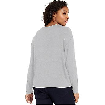 Daily Ritual Women's Jersey Long-Sleeve Boxy Pocket Tee, Navy, Medium