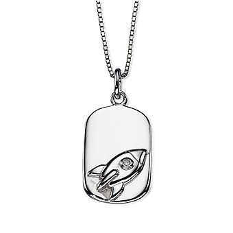D for Diamond Childrens 925 Sterling Silver Rocket Dog Tag Diamond Pendant Necklace of Length 35.5cm