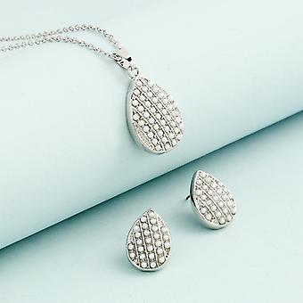 Boucles d'oreilles romantiques romantiques de collier de chaîne de coeur en cristal de luxe de luxe de bijoux