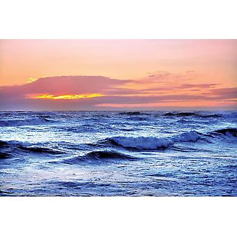 Seinämaalaus Sininen meri ja punainen taivas (13717617)