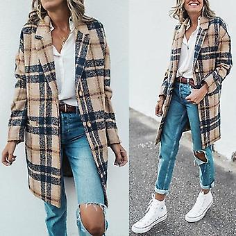 Femme's Loose Long Plaid Woolen Coat