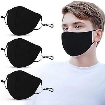 10pcs Adults Mouth Mask Adjustable Dust Proof Pm2.5 Mask Black Cotton Outdoor