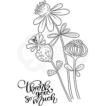 Woodware Klare Singler Takk Blomster 4 i x 6 i Stempel