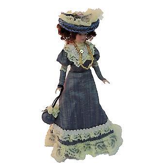 Muñecas Casa Victoriana Dama en Azul Traje Miniatura Personas Porcelana