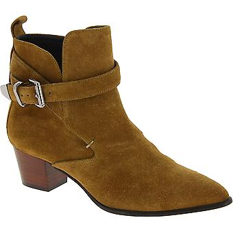 Barbara Bui Women's pointy heeled ankle boots in camel suede leather with buckle