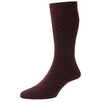 Pantherella Gadsbury Cotton Fil D'Ecosse Pin Dot Socks - Borgonha