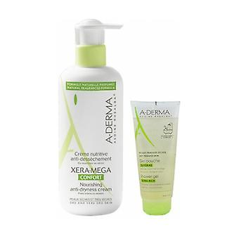 A-derma xera-mega confort cream 400ml + gel 100ml 1 unit