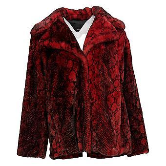 Avec Les Filles Women's Faux Fur Coat Snake Skin Print Red 707-482