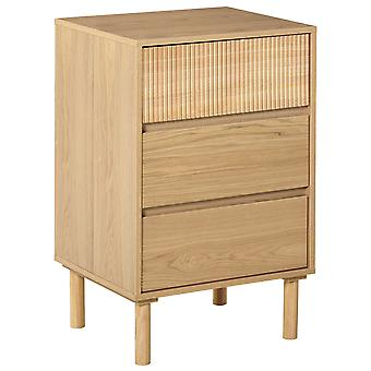 HOMCOM 3-Drawer Storage Cabinet Bedside Table w/ Wood Legs Metal Rails Anti-Tip Bedroom Living Room Tidy Unique Style