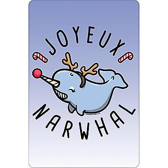 Greet Tin Card Joyeux Narwhal Christmas Plaque