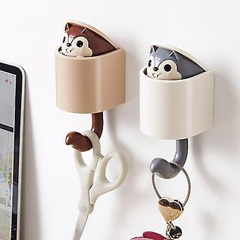 Invisible Squirrel Hook Umbrella Key Hangers Adesivo Montabile Gancio da parete per cappotto cappello cellulare Decoro porta parete Organizzazione