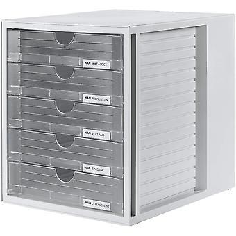 HAN Schubladenbox SYSTEMBOX – attraktives Design fr Unterlagen bis DIN C4, mit 5 geschlossen