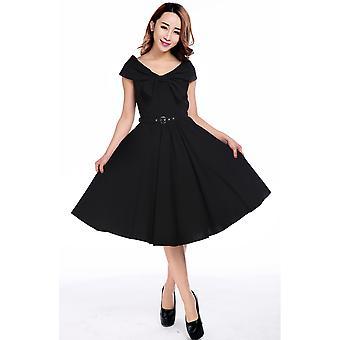 Chic Star Bow Collar V-Neck Dress In Black