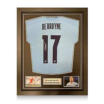 Kevin De Bruyne Signed Manchester City 2020-21 Shirt (European print). Framed