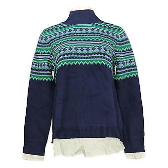 Isaac Mizrahi En direct! Femmes's Mock-Neck Jacquard Sweater Blue A389124