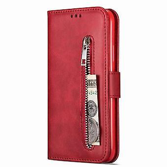 Wielofunkcyjny etui zabezpieczające portfel dla Samsung Galaxy S20 6.2 - czerwony