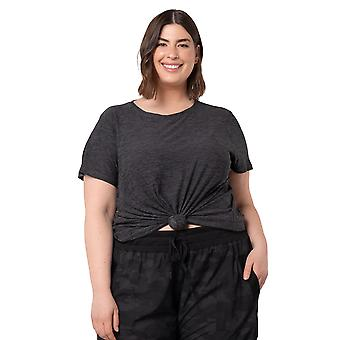 Women's Plus Size Short Sleeve Soft Moss Jersey Top With Front Tie Detail