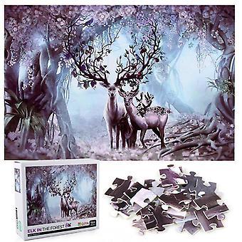 1000pcs Elch im Wald Puzzle Spielzeug Montage Bild Dekoration