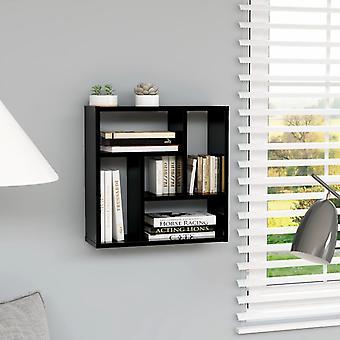 vidaXL estante de pared negro de alto brillo 45.1 x 16 x 45.1 cm aglomerado
