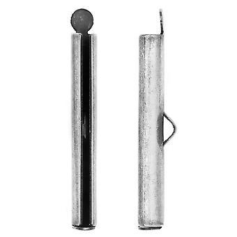 Nunn Design Ribbon Cord Ends, Barrel 33.5mm, 2 Pieces, Antiqued Silver