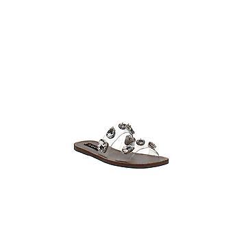 Aqua | Daze Rhinestone-Strap Slide Sandals